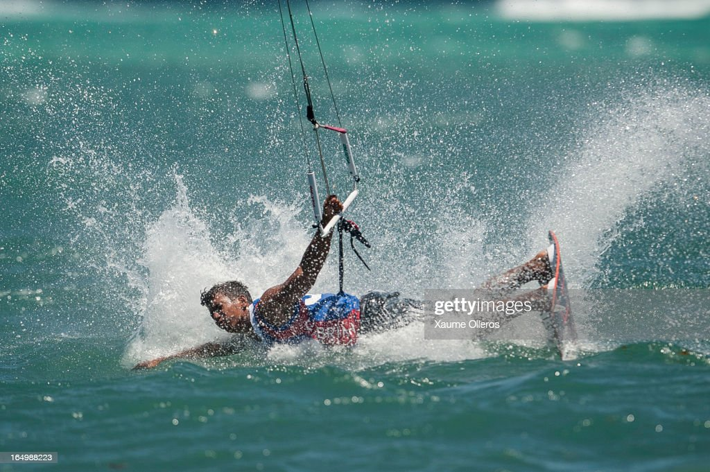 Reynard Gajisan of Philippines crashes after failing a trick on freestyle during day five of the KTA at Boracay Island on March 30, 2013 in Makati, Philippines.