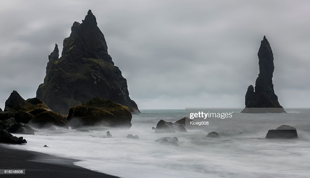 Reynisfjara Black Sand and  Beach : Stock Photo