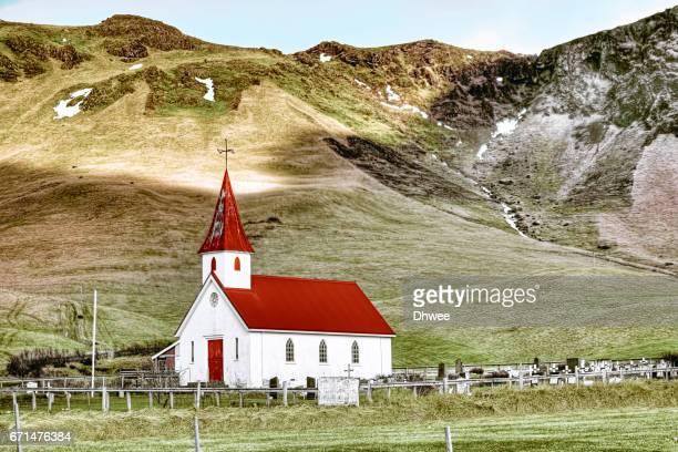 Reyniskirkja Or Reynisfjara Church And Cemetery. South Coast Of Iceland