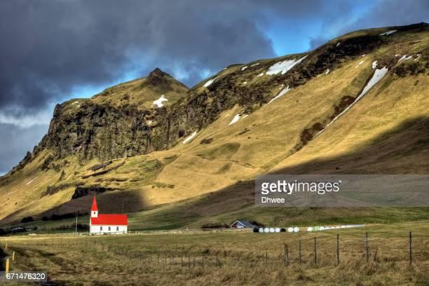 Reyniskirkja Or Reynisfjara Church With Its Breathtaking Landscape. South Coast Of Iceland