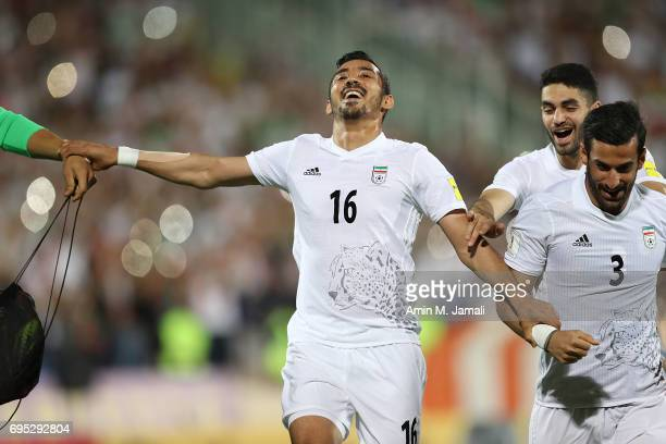 Reza Ghoochannejad celebrates after the match during FIFA 2018 World Cup Qualifier match between Iran and Uzbekistan at Azadi Stadium on June 12 2017...