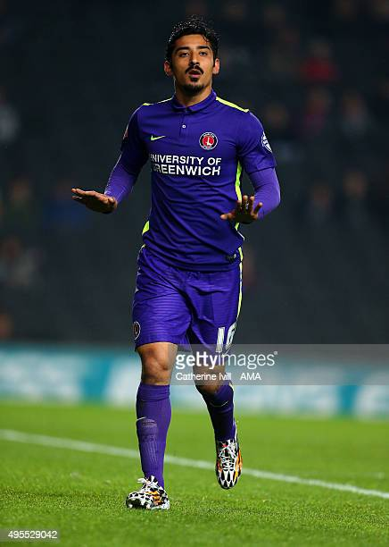Reza Ghoochannejhad of Charlton Athletic during the Sky Bet Championship match between MK Dons and Charlton Athletic at Stadium mk on November 3 2015...