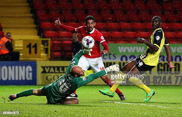 Reza Ghoochannejhad of Charlton Athletic scores a goal during the Capital One Cup First Round match between Charlton Athletic v Dagenham Redbridge at...
