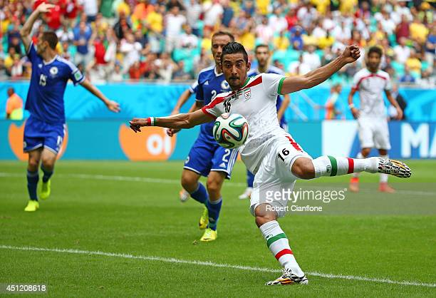 Reza Ghoochannejhad of Iran attempts a shot at goal during the 2014 FIFA World Cup Brazil Group F match between Bosnia and Herzegovina and Iran at...