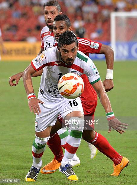 Reza Ghoochannejhad of Iran breaks away from the defence during the 2015 Asian Cup match between IR Iran and the UAE at Suncorp Stadium on January 19...