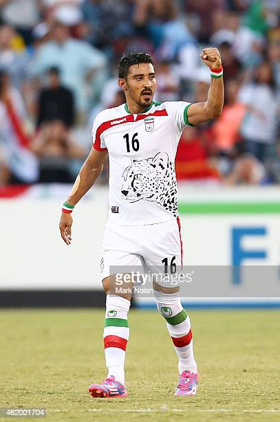 Reza Ghoochannejhad of Iran celebrates a scoring a goal in extra time during the 2015 Asian Cup match between Iran and Iraq at Canberra Stadium on...