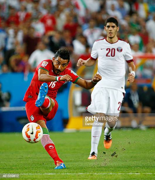 Reza Ghoochannejhad of Iran kicks the ball during the 2015 Asian Cup match between Qatar and IR Iran at ANZ Stadium on January 15 2015 in Sydney...
