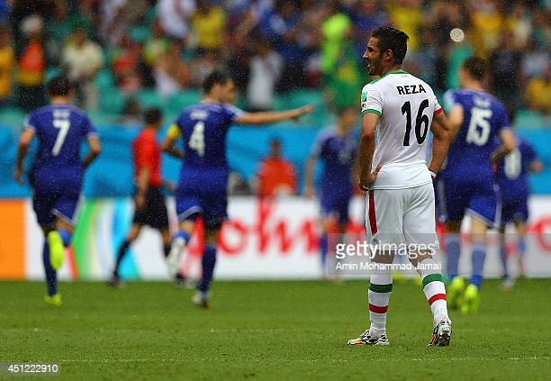 Reza Ghoochannejhad of iran looks on during the 2014 FIFA World Cup Brazil Group F match between Bosnia and Herzegovina and Iran at Arena Fonte Nova...