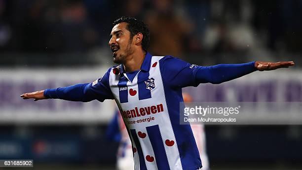 Reza Ghoochannejhad of sc Heerenveen celebrates scoring his teams first goal of the game during the Dutch Eredivisie match between SC Heerenveen and...