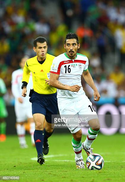 Reza Ghouchannejad of Iran in action during the 2014 FIFA World Cup Brazil Group F match between Iran and Nigeria at Arena da Baixada on June 16 2014...