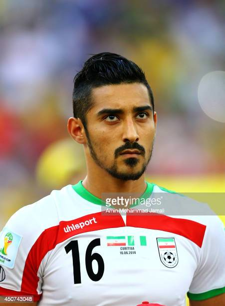 Reza Ghouchannejad of Iran looks on during the 2014 FIFA World Cup Brazil Group F match between Iran and Nigeria at Arena da Baixada on June 16 2014...