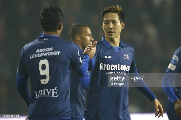 Reza Goochannejhad of Heerenveen Yuki Kobayashi of Heerenveenduring the Dutch Eredivisie match between Heracles Almelo and sc Heerenveen at Polman...