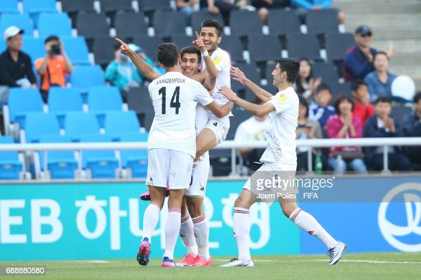 Reza Shekari of Iran celebrates with his team mates after scring his team's first goal during the FIFA U20 World Cup Korea Republic 2017 group C...