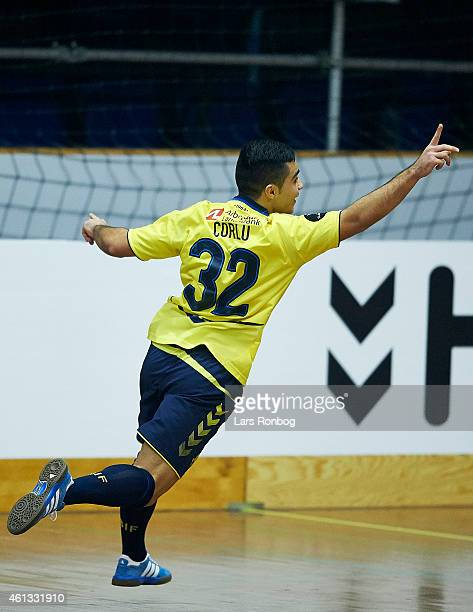 Rezan Corlu of Brondby IF celebrates after scoring the second goal in the 1/4 final during the Arbejdernes Landsbank Cup at Brondby Hallen on January...