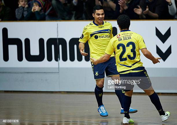 Rezan Corlu of Brondby IF celebrates with team mate Patrick da Silva after scoring the second goal in the 1/4 final during the Arbejdernes Landsbank...
