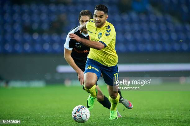 Rezan Corlu of Brondby IF controls the ball during the Danish Cup DBU Pokalen match between BK Marienlyst and Brondby IF at Brondby Stadion on March...