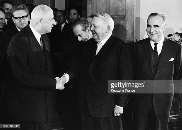 Rfa Charles De Gaulle German Chancellor Erhard And French Minister Georges Pompidou In The Sixties