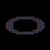 Alphabet letters on lcd screen. It's possible to see the red, green and blue subpixel  that compose the pixel.