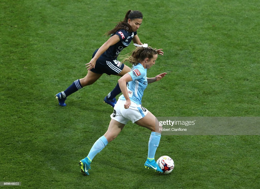 Rhali Dobson of Melbourne City runs with the ball during the round two W-League match between Melbourne City FC and Melbourne Victory at AAMI Park on November 3, 2017 in Melbourne, Australia.