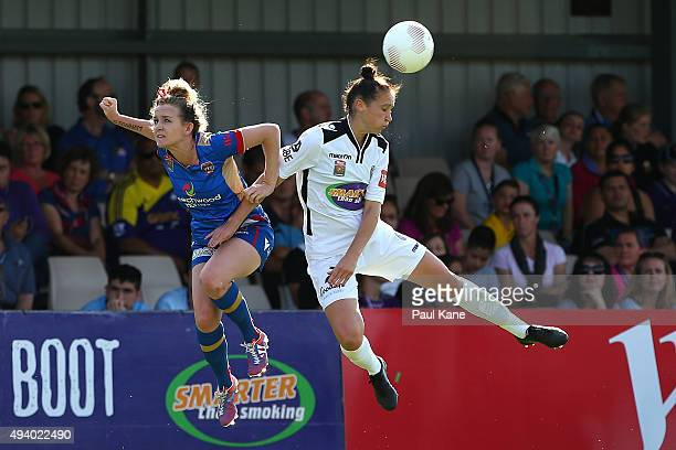 Rhali Dobson of the Jets and Sarah Carroll of the Glory contest for a header during the round two WLeague match between Perth Glory and the Newcastle...