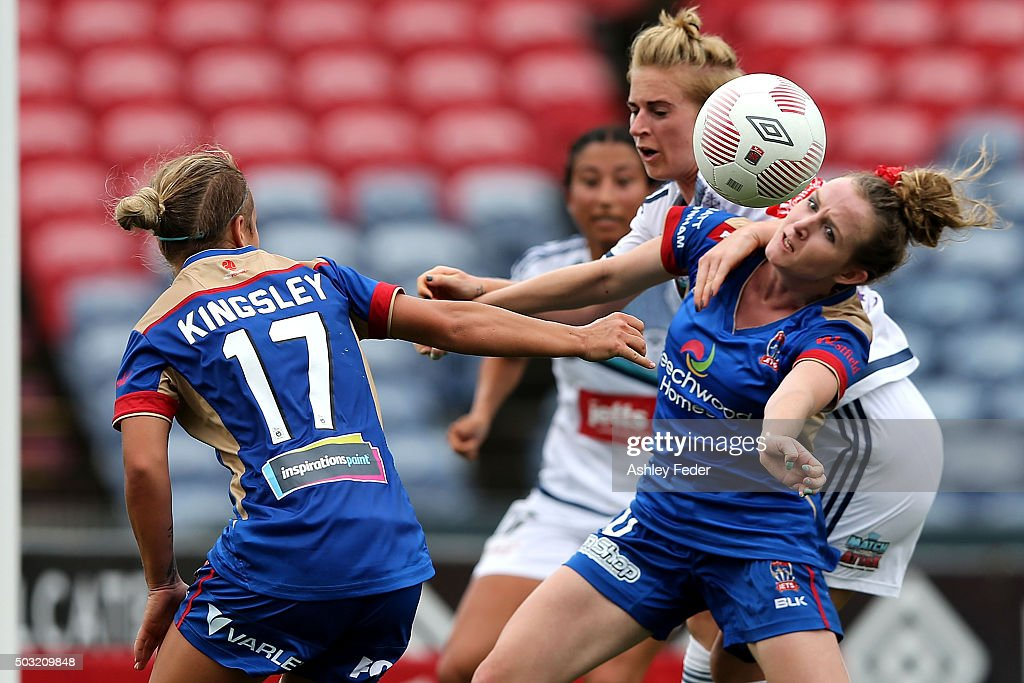 Rhali Dobson of the Jets heads the ball during the round 12 WLeague match between the Newcastle Jets and the Melbourne Victory at Hunter Stadium on...
