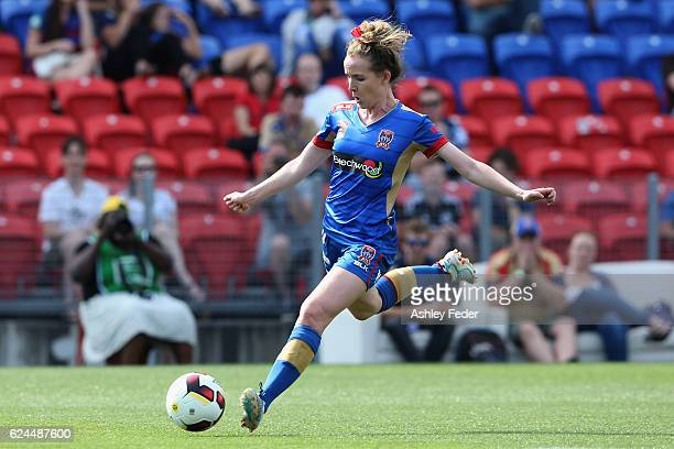 Rhali Dobson of the Jets in action during the round three WLeague match between the Newcastle Jets and Perth Glory at Hunter Stadium on November 20...