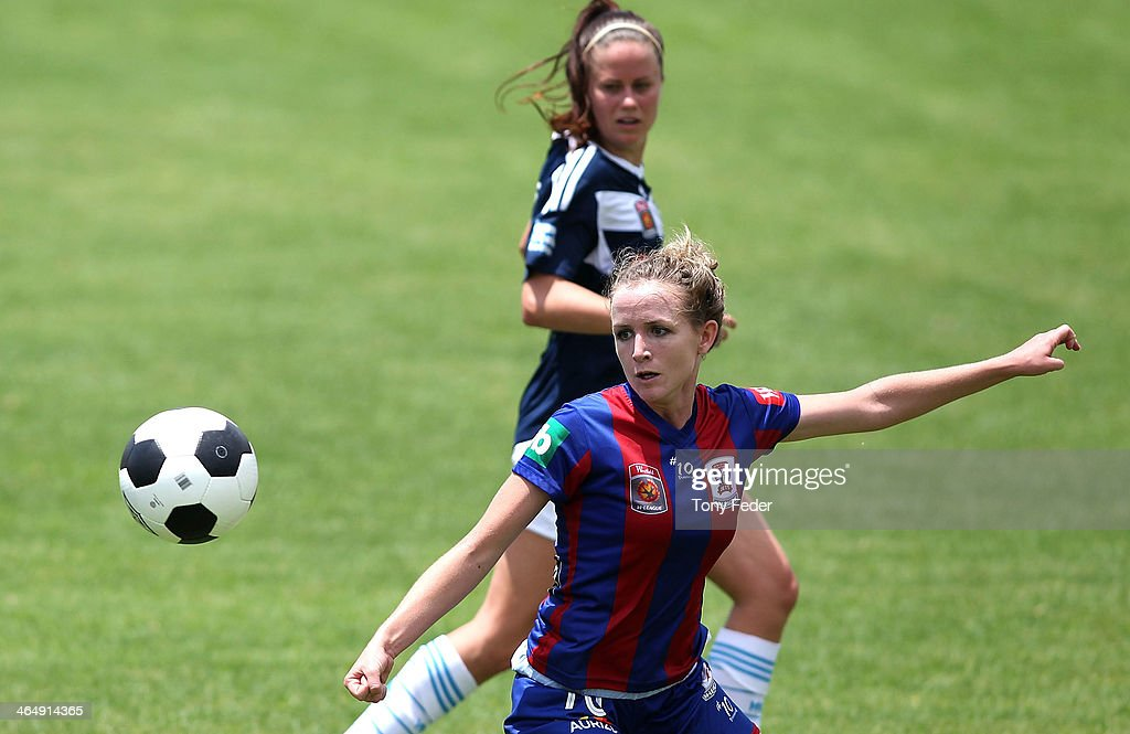 Rhali Dobson of the Jets looks to control the ball during the round 10 W-League match between the Newcastle Jets and Melbourne Victory at Adamstown Oval on January 25, 2014 in Newcastle, Australia.