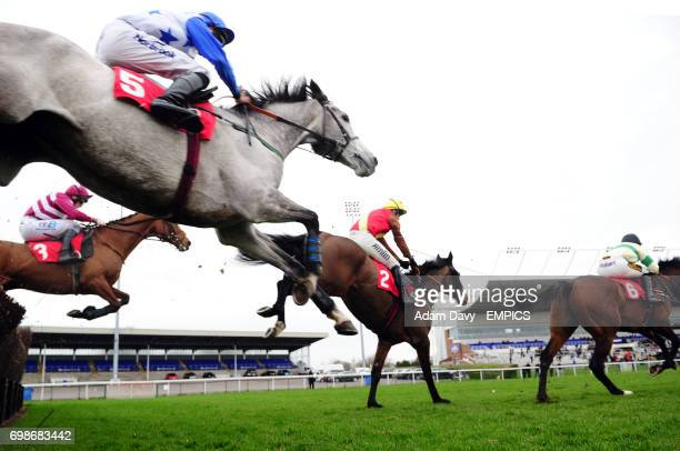 Rhapando ridden by Tom O'Brien during the first circuit on his way to winning the Watch on 3 Devices racingukcom Handicap Steeple Chase