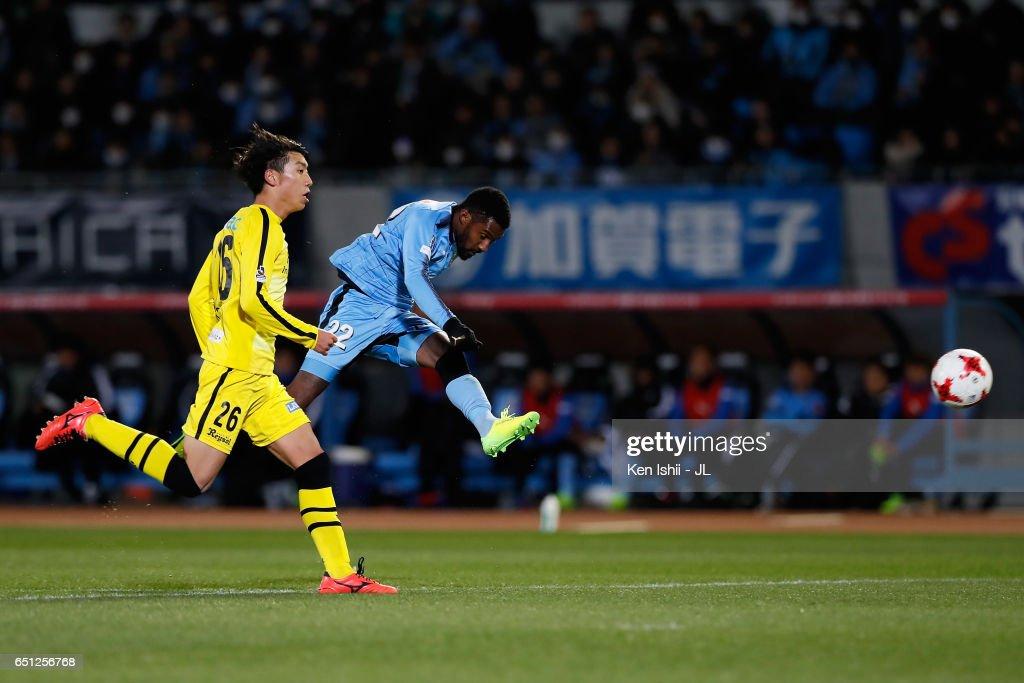 Rhayner of Kawasaki Frontale shoots at goal during the J.League J1 match between Kawasaki Frontale and Kashiwa Reysol at Todoroki Stadium on March 10, 2017 in Kawasaki, Kanagawa, Japan.