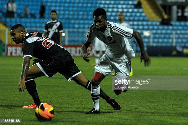 Rhayner runs for the ball during the match between Vasco and Fluminense for the Brazilian Series A 2013 at Ressacada stadium on October 09 2013 in...