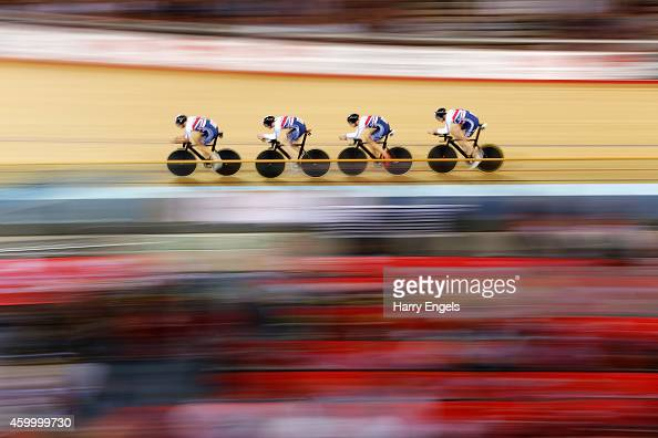 Rhe Great Britain Men's Pursuit Team in action during the Team Pursuit Semi Finals on day one of the UCI Track Cycling World Cup at the Lee Valley...