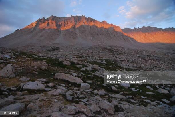 Rhe last rays of sunset on a granite peak