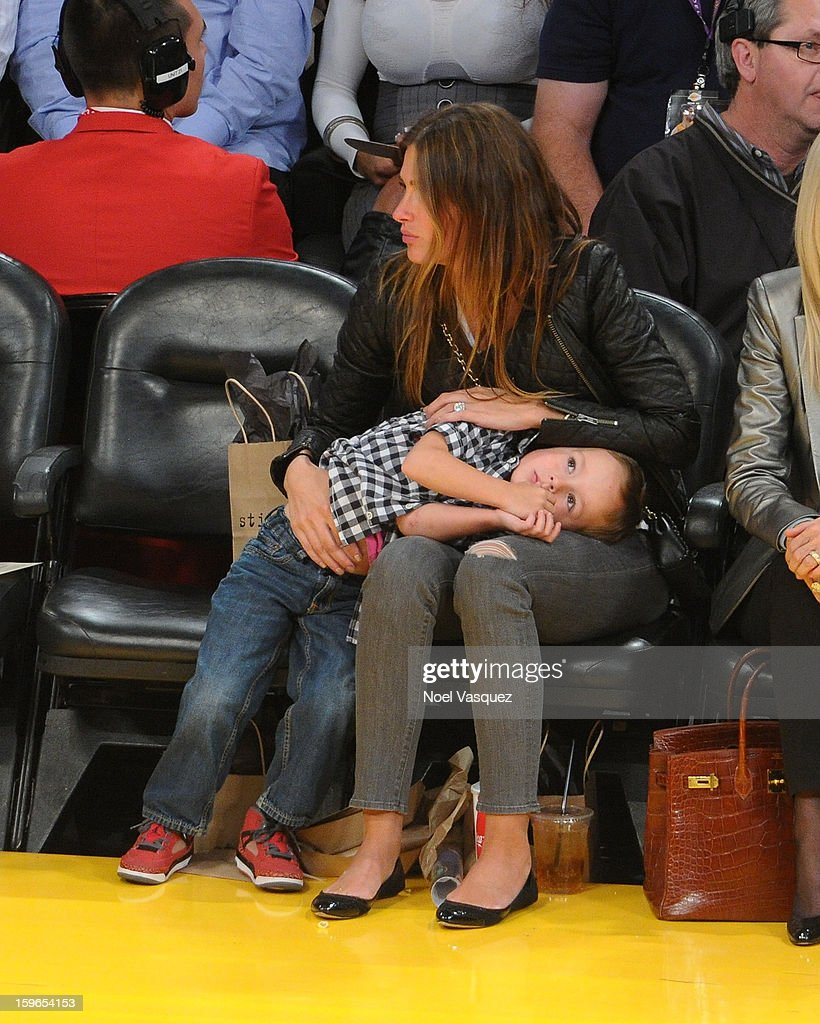 Rhea Durham (R) and her son Brendan Wahlberg attend a basketball game between the Miami Heat and the Los Angeles Lakers at Staples Center on January 17, 2013 in Los Angeles, California.
