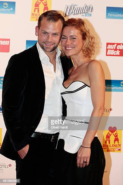 Rhea Harder and her husband Joerg Vennewald pose during the 'Helden des Alltags 2015' gala at Theater Kehrwieder on October 8 2015 in Hamburg Germany