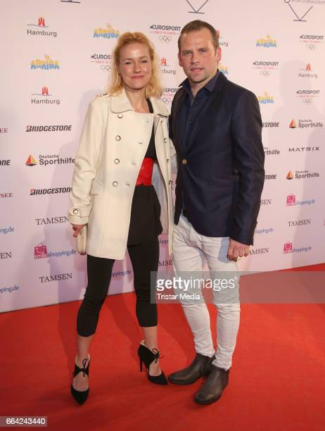 Rhea Harder and Joern Vennewald attend the German Sports Journalism Award 2017 at Grand Elysee Hotel on April 03 2017 in Hamburg Germany