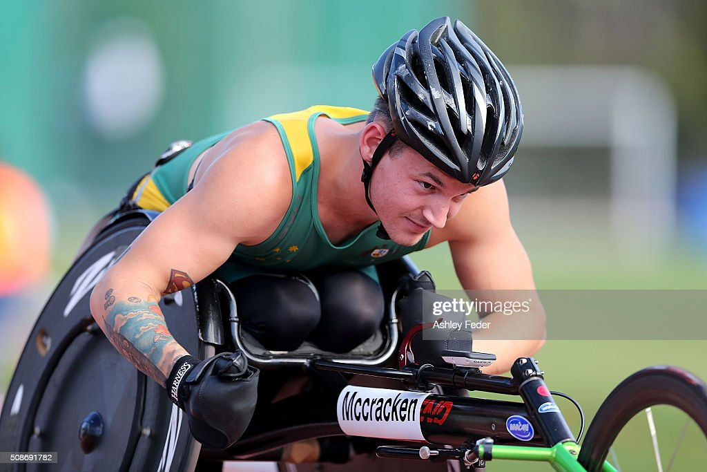 Rheed McCracken of QAS competes in the mens wheelchair 400m sprint during the IPC Athletics Grand Prix on February 6, 2016 in Canberra, Australia.