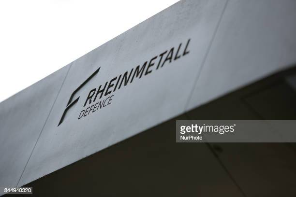 A Rheinmetall logo is seen etched into the side of a anti tank missle box on an AMPV vehicle is seen at the 25th International Defence Industry...