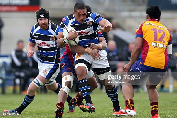 Rhema Sagote of Wanganui on the attack during the Lochore Cup Final match between North Otago and Wanganui on October 26 2014 in Oamaru New Zealand
