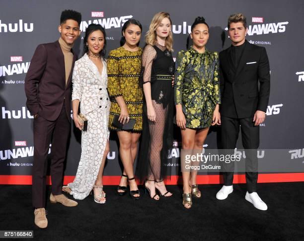 Rhenzy Feliz Lyrica Okano Ariela Barer Virginia Gardner Allegra Acosta and Gregg Sulkin arrive at the premiere of Hulu's 'Marvel's Runaways' at...