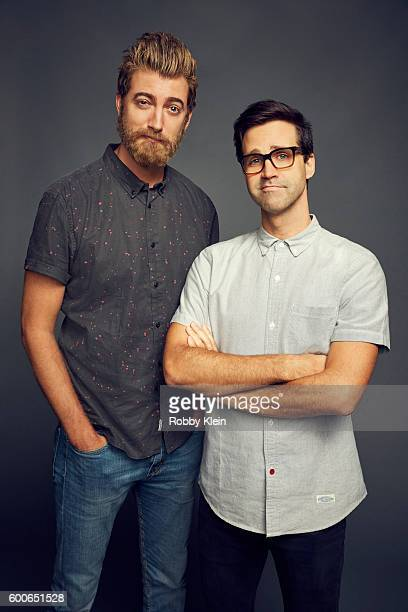 Rhett and Link from YouTube Red Original 'Rhett and Link's Buddy System' are photographed at the YouTube 2016 Summer TCA Press Tour for on August 6...