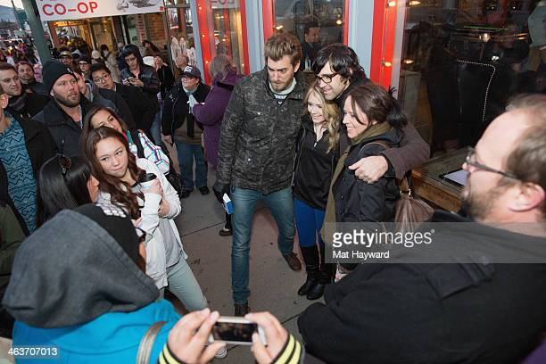 Rhett James Mclaughlin and Link Neal of Rhett and Link interact with fans in front of YouTube on Main Street Official Shorts during the Sundance Film...