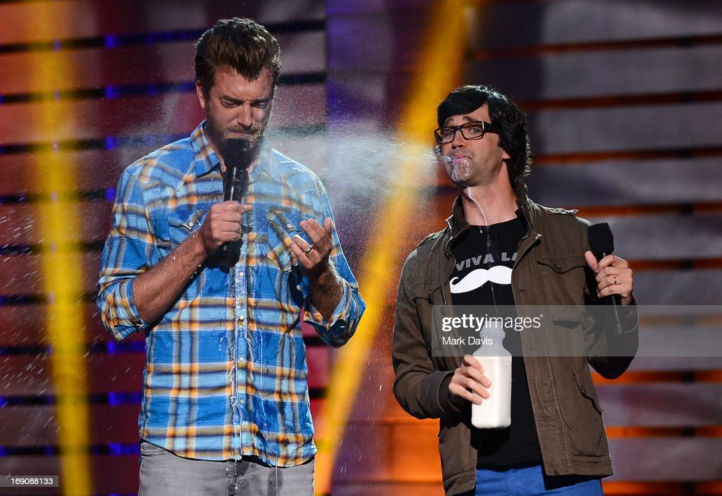 Rhett James McLaughlin and Link Neal of Rhett and Link perform during 'The Big Live Comedy Show' presented by YouTube Comedy Week held at Culver Studios on May 19, 2013 in Culver City, California.