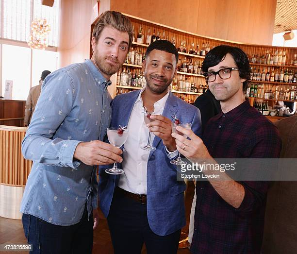 Rhett James McLaughlin Iman Crosson and Charles Lincoln 'Link' Neall lll attend the PreWebby Awards Sunset Cocktails At The Top Of The Standard...