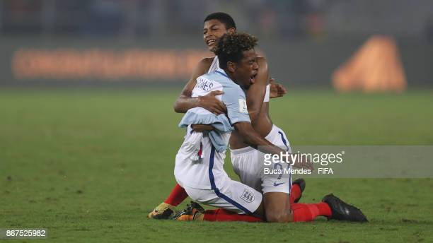 Rhian Brewster and Angel Gomes of England celebrates the victory after the FIFA U17 World Cup India 2017 Final match between England and Spain at...