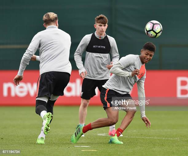 Rhian Brewster and Ben Woodburn of Liverpool during a training session at Melwood Training Ground on April 21 2017 in Liverpool England