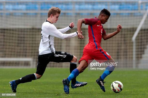 Rhian Brewster of England U17 challenges Jan Boller of Germany U17 during the U17 Algarve Cup Tournament Match between England U17 and Germany U17 on...