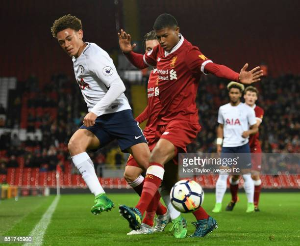Rhian Brewster of Liverpool and Luke Amos of Tottenham Hotspur in action during the Liverpool v Tottenham Hotspur Premier League 2 game at Anfield on...