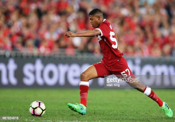 Rhian Brewster of Liverpool controls the ball during the International Friendly match between Sydney FC and Liverpool FC at ANZ Stadium on May 24...