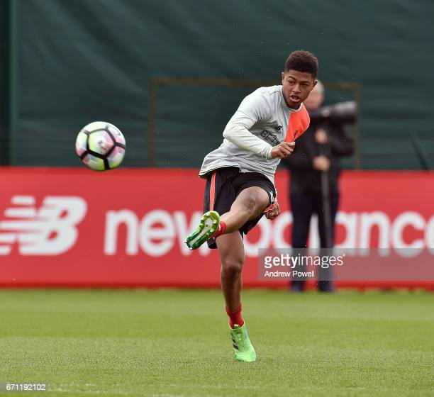 Rhian Brewster of Liverpool during a training session at Melwood Training Ground on April 21 2017 in Liverpool England