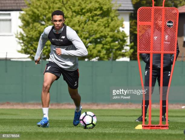 Rhian Brewster of Liverpool during a training session at Melwood Training Ground on April 26 2017 in Liverpool England